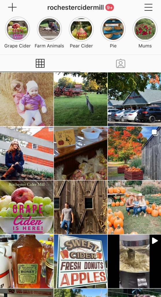 The Instagram page for the Rochester Cider Mill.