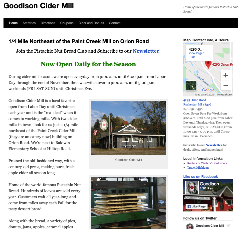 The homepage of the Goodison Cider Mill website